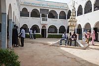 Senegal, Touba.  Students in the Courtyard of the Al-Azhar Institute of Islamic Studies.