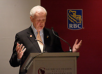 Montreal (QC) CANADA, October 6, 2008 -<br /> Wilfrid J. (Wilf) Wilkinson, C.M., F.C.A., President 2007-2008 of the Rotary International, at the Canadian Club of Montreal's podium.<br /> <br /> The Rotary International is the world's<br /> first service club organization.<br />     More than 20,000 Rotarians are expected to attend its International<br /> Congress in June 2010 and in preparation for this great event, we are pleased<br /> to welcome the 2007-2008 Rotary International President, Mr. Wilfrid<br /> Wilkinson, the first Canadian in 55 years to head Rotary International.
