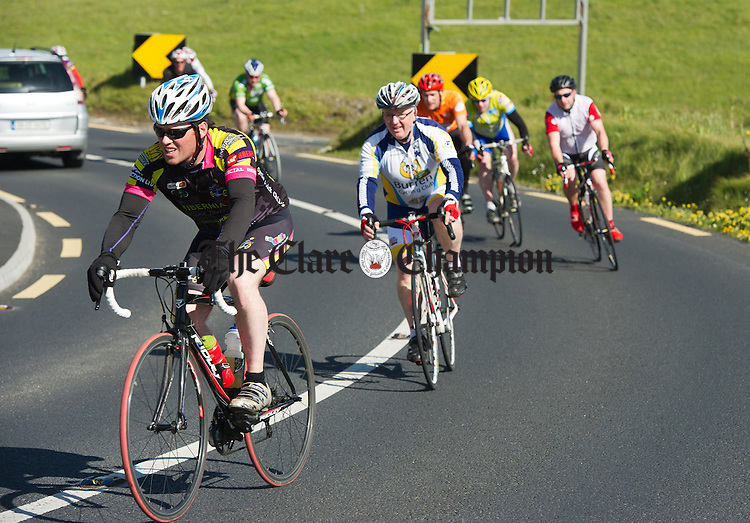 Cyclists round a bend during the second day of the Clare 250 Cycle at Cregg, Lahinch. Photograph by John Kelly.