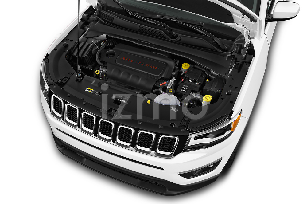 Car Stock 2017 JEEP Compass Latitude 5 Door SUV Engine  high angle detail view