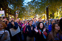 Hundreds listen to speakers in Occidental Park during the People's Climate March in Seattle, Wash. on October 14, 2015. (photo © Karen Ducey for the Sierra Club)