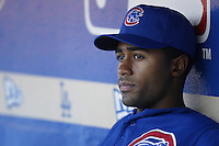 Corey Patterson of the Chicago Cubs before a 2002 MLB season game against the Los Angeles Dodgers at Dodger Stadium, in Los Angeles, California. (Larry Goren/Four Seam Images)