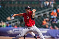 Springfield Cardinals pitcher Roel Ramirez (28) delivers a pitch on May 19, 2019, at Arvest Ballpark in Springdale, Arkansas. (Jason Ivester/Four Seam Images)