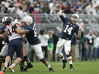 State College, PA - 11/02/2013:  PSU QB Christian Hackenberg attempts a pass during the second half.  Hackenberg was 20 for 32 passing for 240 yards and 1 touchdown during the game.  Penn State defeated Illinois by a score of 24-17 in overtime on Saturday, November 2, 2013, at Beaver Stadium.<br /> <br /> Photos by Joe Rokita / JoeRokita.com