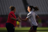 KASHIMA, JAPAN - AUGUST 4: Alex Morgan #13 of the United States before a game between Australia and USWNT at Kashima Soccer Stadium on August 4, 2021 in Kashima, Japan.