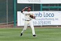 Visalia Rawhide left fielder Luis Alejandro Basabe (5) during a California League game against the Rancho Cucamonga Quakes on April 8, 2019 in Visalia, California. Rancho Cucamonga defeated Visalia 4-1. (Zachary Lucy/Four Seam Images)