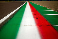 30th October 2020, Imola, Italy; FIA Formula 1 Grand Prix Emilia Romagna, inspection day;  The Italian colours in warning lines/curbs from the race track in Imola