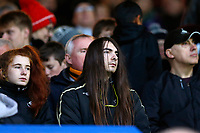 Swansea City fans look on during the Premier League match between Burnley and Swansea City at Turf Moor, Burnley, England, UK. Saturday 18 November 2017