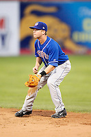 August 28, 2009:  Second Baseman Ryan Schimpf (11) of the Auburn Doubledays in the field during a game at Dwyer Stadium in Batavia, NY.  Auburn is the Short-Season Class-A affiliate of the Toronto Blue Jays.  Photo By Mike Janes/Four Seam Images