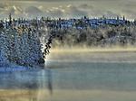 mist on freezing lake