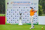 En Qi Liang of China tees off at tee one during the 9th Faldo Series Asia Grand Final 2014 golf tournament on March 18, 2015 at Mission Hills Golf Club in Shenzhen, China. Photo by Xaume Olleros / Power Sport Images