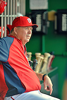 15 June 2012: Washington Nationals pitching coach Steve McCatty watches from the dugout during a game against the New York Yankees at Nationals Park in Washington, DC. The Yankees defeated the Nationals 7-2 in the first game of their 3-game series. Mandatory Credit: Ed Wolfstein Photo
