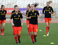 20180305 - LARNACA , CYPRUS :  Belgian Laura Deloose (left) pictured with Laura De Neve during a women's soccer game between  the Belgian Red Flames  and Austria , on Monday 5 March 2018 at the GSZ Stadium in Larnaca , Cyprus . This is the third game in group B for Belgium during the Cyprus Womens Cup , a prestigious women soccer tournament as a preparation on the World Cup 2019 qualification duels. PHOTO SPORTPIX.BE | DAVID CATRY