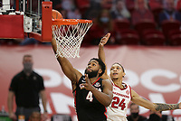 Georgia Andrew Garcia (4) shoots, Saturday, January 9, 2021 during the second half of a basketball game at Bud Walton Arena in Fayetteville. Check out nwaonline.com/210110Daily/ for today's photo gallery. <br /> (NWA Democrat-Gazette/Charlie Kaijo)