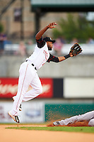 Arkansas Travelers second baseman Sherman Johnson (4) jumps for a throw on a stolen base during a game against the Corpus Christi Hooks on May 29, 2015 at Dickey-Stephens Park in Little Rock, Arkansas.  Corpus Christi defeated Arkansas 4-0 in a rain shortened game.  (Mike Janes/Four Seam Images)