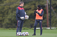 Swansea City goalkeeper coach Tony Roberts and Swansea City assistant manager Claude Makelele during training at at the Fairwood Training Centre, Swansea, Wales, UK. Thursday 21 September 2017