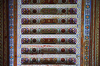 Berber arabesque painted wood ceiling.The Petite Court, Bahia Palace, Marrakesh, Morroco
