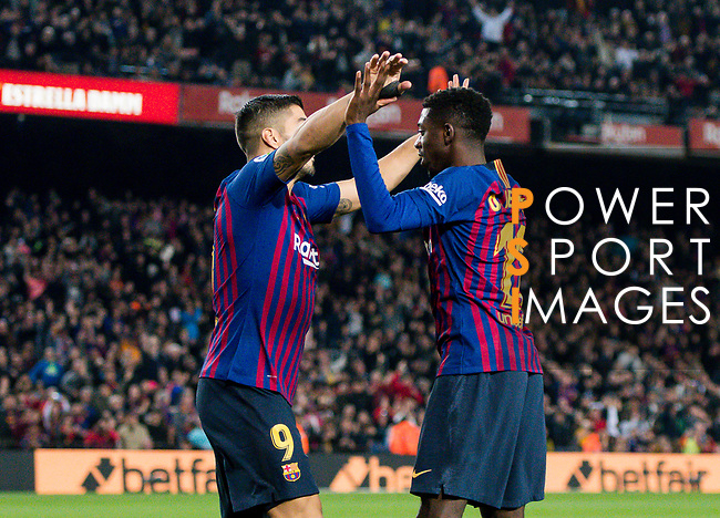 Ousmane Dembele of FC Barcelona celebrates with teammate Luis Alberto Suarez Diaz during the La Liga 2018-19 match between FC Barcelona and RC Celta de Vigo at Camp Nou on 22 December 2018 in Barcelona, Spain. Photo by Vicens Gimenez / Power Sport Images