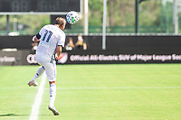 LAKE BUENA VISTA, FL - JULY 9: Alejandro Bedoya #11 of the Philadelphia Union heads the ball during a game between New York City FC and Philadelphia Union at Wide World of Sports on July 9, 2020 in Lake Buena Vista, Florida.