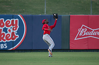 AZL Angels left fielder D'Shawn Knowles (20) catches a fly ball during an Arizona League game against the AZL Padres 2 at Tempe Diablo Stadium on July 18, 2018 in Tempe, Arizona. The AZL Padres 2 defeated the AZL Angels 8-1. (Zachary Lucy/Four Seam Images)