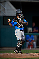 Akron RubberDucks catcher Li-Jen Chu (30) during a game against the Harrisburg Senators on August 18, 2018 at FNB Field in Harrisburg, Pennsylvania.  Akron defeated Harrisburg 5-1.  (Mike Janes/Four Seam Images)