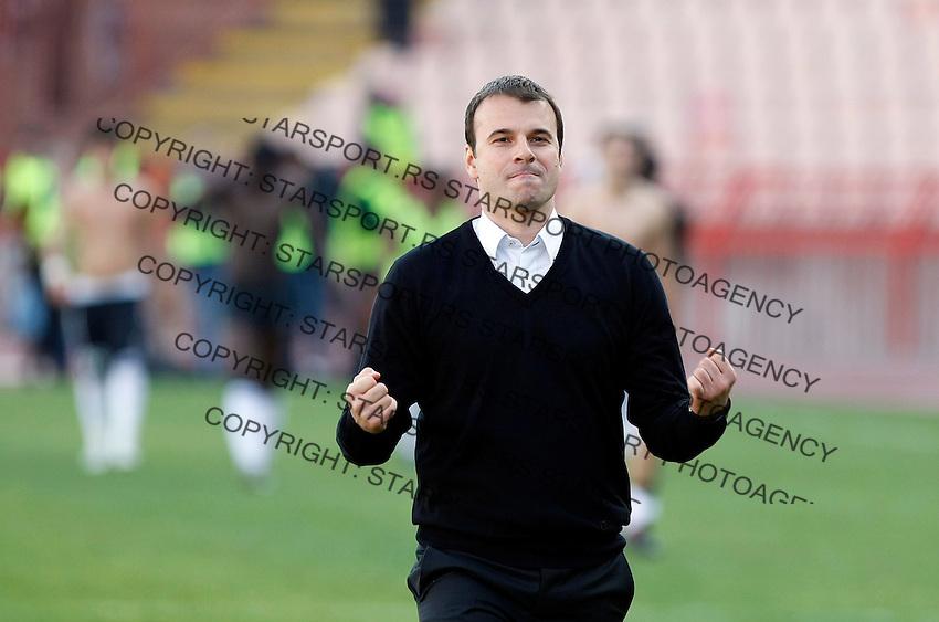 Head coach Aleksandar Stanojevic,,from Partizan Belgrade,  celebrate, after match,  during the Serbian League soccer match in Belgrade, Serbia, Saturday, October  24, 2010. (Srdjan Stevanovic/Starsportphoto.com)