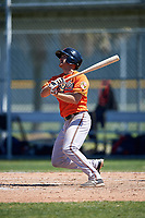 Baltimore Orioles Collin Woody (71) follows through on a swing during a minor league Spring Training game against the Minnesota Twins on March 17, 2017 at the Buck O'Neil Baseball Complex in Sarasota, Florida.  (Mike Janes/Four Seam Images)
