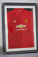 A Manchester United top to be sold at auction by Swansea City FC Community Trust. Fairwood Training Complex in Swansea, Wales, UK. Wednesday 29 March 2017