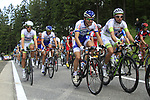 The peloton climbs the Cote de Francorchamps during Stage 1 of the 99th edition of the Tour de France, running 198km from Liege to Seraing, Belgium. 1st July 2012.<br /> (Photo by Eoin Clarke/NEWSFILE)