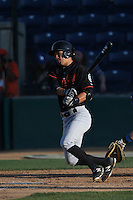 Carlton Tanabe (24) of the Bakersfield Blaze bats during a game against the Rancho Cucamonga Quakes at LoanMart Field on June 1, 2015 in Rancho Cucamonga, California. Rancho Cucamonga defeated Bakersfield, 5-2. (Larry Goren/Four Seam Images)