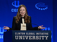CORAL GABLES, FL - MARCH 07: Hillary Rodham Clinton, Former U.S. Secretary of State and U.S. Senator from New York and her daughter Chelsea Clinton, Vice Chair, Clinton Foundation embrace as they attend the 2015 Meeting of Clinton Global Initiative University at the University of Miami on March 7, 2015 in Coral Gables, Florida. The 2015 Clinton Global Initiative University meeting encourages students to take action on some of the Millennial generations biggest concerns such as the future of energy, the power of big data to address global challenges, and peace-building in the Middle East and North Africa<br /> <br /> People:  Chelsea Clinton