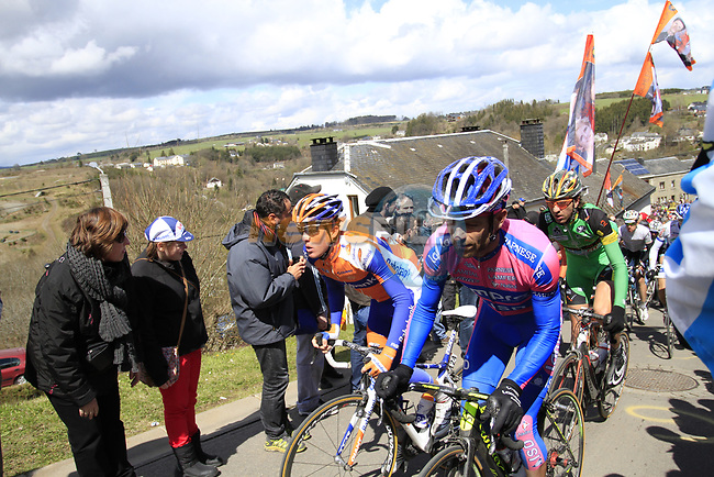 The peloton including Michele Scarponi (ITA) Lampre-ISD climb Cote de Saint-Roch during the 98th edition of Liege-Bastogne-Liege, running 257.5km from Liege to Ans, Belgium. 22nd April 2012.  <br /> (Photo by Eoin Clarke/NEWSFILE).