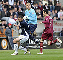 18/04/2009  Copyright Pic: James Stewart.sct_jspa08_falkirk_v_hearts.MARIAN KELLO GETS THE BALL AHEAD OF MICHAEL HIGDON.James Stewart Photography 19 Carronlea Drive, Falkirk. FK2 8DN      Vat Reg No. 607 6932 25.Telephone      : +44 (0)1324 570291 .Mobile              : +44 (0)7721 416997.E-mail  :  jim@jspa.co.uk.If you require further information then contact Jim Stewart on any of the numbers above.........