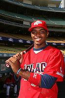 August 9 2008: Mychel Givens participates in the Aflac All American baseball game for incoming high school seniors at Dodger Stadium in Los Angeles,CA.  Photo by Larry Goren/Four Seam Images