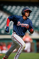 Atlanta Braves Juan Morales (24) runs to first base during a Florida Instructional League game against the Canadian Junior National Team on October 9, 2018 at the ESPN Wide World of Sports Complex in Orlando, Florida.  (Mike Janes/Four Seam Images)