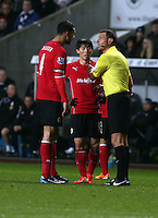 Saturday, 08 February 2014<br /> Pictured L-R: Steven Caulker and Kim Bo-Kyung of Cardiff are spoken to by match referee Andre Marriner <br /> Re: Barclay's Premier League, Swansea City FC v Cardiff City at the Liberty Stadium, south Wales, UK.