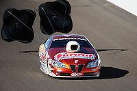 Oct. 15, 2011; Chandler, AZ, USA; NHRA pro stock driver Jason Line during qualifying at the Arizona Nationals at Firebird International Raceway. Mandatory Credit: Mark J. Rebilas-