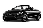 Stock pictures of low aggressive front three quarter view of 2019 Mercedes Benz C-Class AMG-Line 2 Door Convertible Low Aggressive