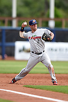Fort Myers Miracle catcher Tyler Grimes (2) throws to first during a game against the Charlotte Stone Crabs on April 16, 2014 at Charlotte Sports Park in Port Charlotte, Florida.  Fort Myers defeated Charlotte 6-5.  (Mike Janes/Four Seam Images)