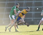 Richie English of  Limerick in action against Ian Galvin of  Clare during their NHL quarter final at the Gaelic Grounds. Photograph by John Kelly.