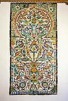 Ceramics, Tunis,  Tunisia.  Qallaline Tiles, Mrabet Restaurant, Tunis medina.  200 Years Old.