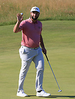 18th July 2021; Royal St Georges Golf Club, Sandwich, Kent, England; The Open Championship Golf, Day Four; Jon Rahm (ESP) celebrates after his birdie on the par three 16th hole
