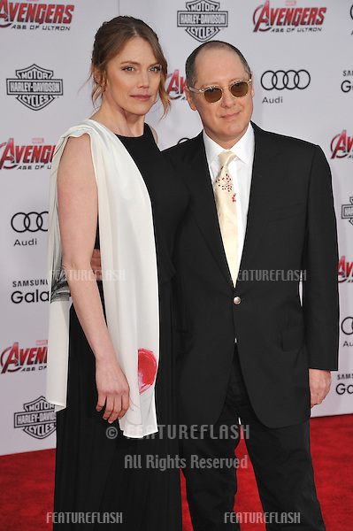 """James Spader & Leslie Stefanson at the world premiere of his movie """"Avengers: Age of Ultron"""" at the Dolby Theatre, Hollywood.<br /> April 13, 2015  Los Angeles, CA<br /> Picture: Paul Smith / Featureflash"""
