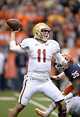 Boston College Eagles quarterback Chase Rettig (11) passes during a game against the Syracuse Orange at the Carrier Dome on November 30, 2013 in Syracuse, New York.  Syracuse defeated Boston College 34-31.  (Copyright Mike Janes Photography)