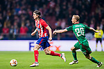 Filipe Luis (L) of Atletico de Madrid competes for the ball with Vladislav Ignatiev of FC Lokomotiv Moscow during the UEFA Europa League 2017-18 Round of 16 (1st leg) match between Atletico de Madrid and FC Lokomotiv Moscow at Wanda Metropolitano  on March 08 2018 in Madrid, Spain. Photo by Diego Souto / Power Sport Images