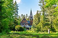 Norwegische Holzkapelle, historischer Friedhof Südwestkirchhof Stahnsdorf, Potsdam-Mittelmark, Brandenburg, Deutschland