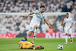 Isco Alarcon (r) of Real Madrid jumps to avoid Vinicius de Oliveira Franco of APOEL FC during the UEFA Champions League 2017-18 match between Real Madrid and APOEL FC at Estadio Santiago Bernabeu on 13 September 2017 in Madrid, Spain. Photo by Diego Gonzalez / Power Sport Images
