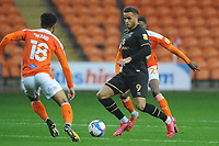 Milton Keynes Dons' Carlton Morris under pressure from Blackpool's Grant Ward<br /> <br /> Photographer Kevin Barnes/CameraSport<br /> <br /> The EFL Sky Bet League One - Blackpool v Milton Keynes Dons - Saturday 24 October 2020 - Bloomfield Road - Blackpool<br /> <br /> World Copyright © 2020 CameraSport. All rights reserved. 43 Linden Ave. Countesthorpe. Leicester. England. LE8 5PG - Tel: +44 (0) 116 277 4147 - admin@camerasport.com - www.camerasport.com