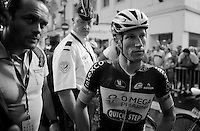 Mark Reshaw (AUS/Omega Pharma-Quickstep) listens to Bernie Eisel (AUT/SKY) arguing with Michal Kwiatkowski (POL/Omega Pharma-Quickstep) over the 'dangerous/disruptive tactics' the OPQS team used in the last few kilometers<br /> <br /> 2014 Tour de France<br /> stage 15: Tallard - Nîmes (222km)
