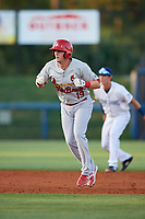 Palm Beach Cardinals left fielder J.B. Woodman (19) leads off second base during a game against the Charlotte Stone Crabs on April 20, 2018 at Charlotte Sports Park in Port Charlotte, Florida.  Charlotte defeated Palm Beach 4-3.  (Mike Janes/Four Seam Images)